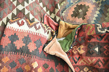 "handmade ANTIQUE TURKISH KILIM CUSHION COVERS moroccan 22x22"" rug BOHO daybed"