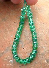 35 AAAAA ZAMBIAN VIBRANT GREEN EMERALD 3.6-4mm BEADS 9.65cts