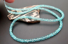 STUNNING ALL NEW GEM MADAGASCAR BLUE APATITE FACETED BEAD STRAND 55.20cts