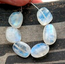 6 VERY FINE GLOWING BLUE MOONSTONE 10.4-11.5mm BEADS 49.95cts 3.45