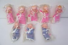 8 Vintage Blue Box Plastic Dolls With Sleeping Eyes and Bottle NOS