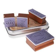 4Pcs/Set Lovely Seal Stamp Wooden and Iron Box multipurpose Wood Rubber Stamp