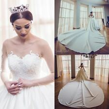 2017 Luxury Beading Top Wedding Dresses Cathedral Long Train Bridal Gowns Custom