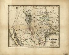 Photo Reprint Antique American Cities Towns States Map Texas