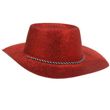 RED GLITTER COWBOY HAT ADULTS COWGIRL WESTERN WILD WEST FANCY DRESS ACCESSORY