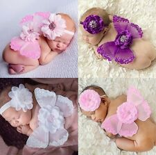 Newborn Baby Girl Infant Flower Headband+Angel Wing Clothes Set Photography Prop