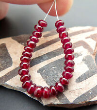 RARE VERY BEAUTIFUL NATURAL GEM RED AAAAA AFRICAN RUBY BEADS 2.50inches 9.50cts
