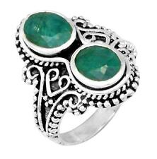 Brazilian Emerald Gemstone Ring Solid 925 Sterling Silver Jewelry IR36574