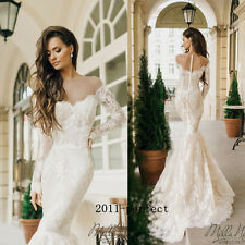 2017 Sexy Mermaid Wedding Dresses Sheer Off Shoulder Lace Applique Bridal Gowns