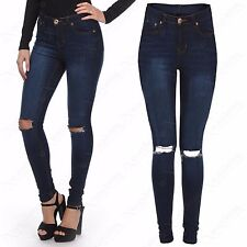 NEW LADIES RIPPED SKINNY JEANS WOMEN DISTRESSED NAVY DENIM STRETCH FIT RIP PANTS