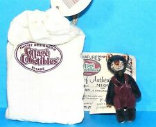 COTTAGE COLLECTIBLES Miniatures by Ganz MEOW Black CAT w/Overalls in Pouch w/COA