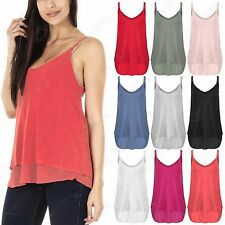 NEW LADIES FINE KNIT STRAPPY CHIFFON LINED VEST WOMEN HILO DOUBLE LAYER LOOK TOP