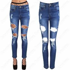 NEW LADIES RIPPED CUT JEANS WOMENS FRAYED DISTRESSED DENIM SKINNY FIT RIP PANTS