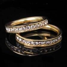 STR166   WEDDING BAND STAINLESS STEEL ROLLED GOLD HIS HERS BRIDAL CZ RING SET