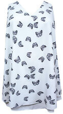 Ladies Emily Cream Butterfly Print Layered Plus Size Top 16 - 28