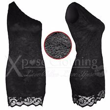 NEW LADIES BLACK FLORAL CROCHET LACE ONE OFF SHOULDER DRESS WOMENS MINI BODYCON
