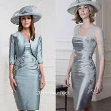2017 Elegant Silver Mother Of The Bride Dresses Prom Women Gowns Custom + Jacket