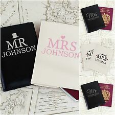 Personalised Mr & Mrs Passport Holders Cover Set Bride & Groom Wedding Gift Idea
