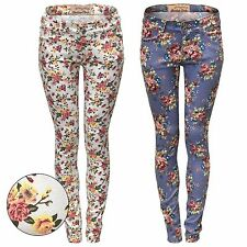 NUOVO DONNA STAMPA FLOREALE Jeans Aderenti Stretch slim Festival LOOK