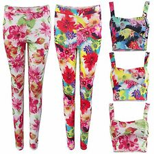 WOMENS FLORAL PRINT SUIT CROP BRA TOP TROUSERS PANTS SET LADIES FESTIVAL LOOK