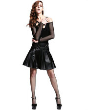 Devil Fashion Gothic Punk Womens Skirt Black Faux Leather Pleated Handcuffs Kilt