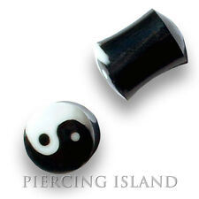 4mm - 16mm HORN BONE Ying Yang Flesh Tunnel Horn Ear Plug Ohr Piercing 051
