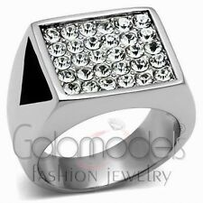 A802 SPARKLING CLEAR SIMULATED DIAMOND 316L STAINLESS STEEL HIGH POLISHED RING