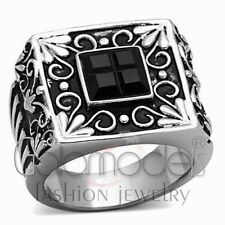 A2509 SIMULATED BLACK DIAMOND 316L STAINLESS STEEL HIGH POLISHED RING