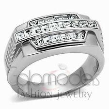 A817 SPARKLING CLEAR SIMULATED DIAMOND 316L STAINLESS STEEL HIGH POLISHED RING