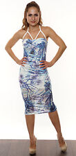 UK New Womens Sleeveless Strappy Padded Mesh Floral Summer Print Bodycon Dress