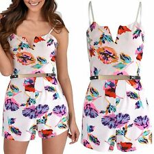 NEW WOMENS FLORAL PRINT BELTED PLAYSUIT SLIT V NECK LADIES STRAPPY TOP SHORTS