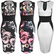 NEW LADIES FLORAL DRESS WOMENS BODYCON U NECK SLIMMING SLEEVELESS VEST LOOK