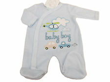 BNWT Tiny baby Premature Preemie car &  helicopter velour sleepsuit 3-5 or 5-8lb