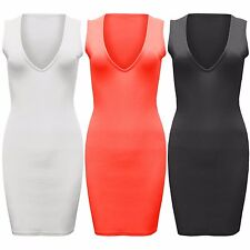 LADIES V-NECK MINI DRESS CREPE WOMENS BODYCON SLEEVELESS PLUNGE FRONT TOP SUMMER