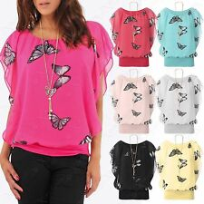 NEW WOMENS CHIFFON BUTTERFLY PRINT BLOUSE NECKLACE BATWING SUMMER LADIES TOP