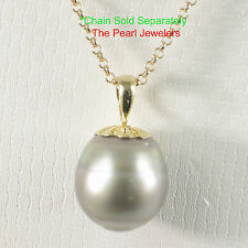 14k Solid Yellow Gold Flower-Cap; Genuine Tahitian Pearl Pendant Necklace TPJ