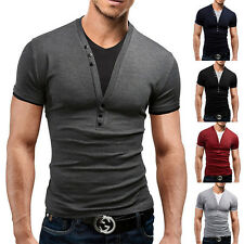Mode Homme Slim Fit Manches Courtes Col V Chemise T-shirt occasionnel