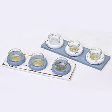 Distressed Nautical Triple Glass Tealight Candle Holder With Wooden Tray