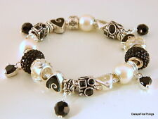 AUTHENTIC PANDORA BRACELET W/ CHARMS BLACK AND PEARLS MOM WIFE HINGED BOX