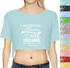 Laughter is Timeless Walt Disney Quote Short Sleeve Crop Top XS-3XL