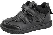 Boys Black School Shoes Easy Touch Fasten Faux Leather Winter Ankle Boots Size