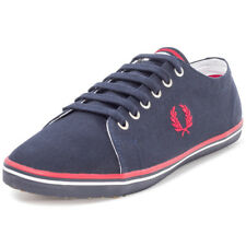 Fred Perry Kingston Twill Unisex Blue Canvas Casual Trainers Lace-up New Style