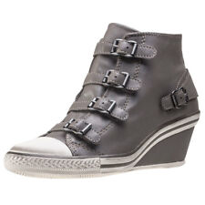 Ash Genial Nappa Wax Perkish Womens Grey Leather Casual Wedges Buckle New Style