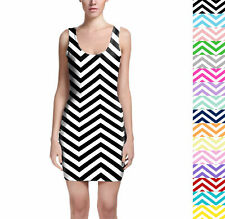Chevron Stripes Bodycon Dress Sizes XS-3XL Sleeveless Stretch Short Dress