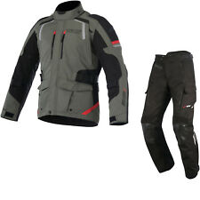 Alpinestars Andes DryStar v2 Motorcycle Jacket & Trousers Military Green Red Kit