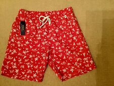 RALPH LAUREN POLO RED PATTERN SWIM SHORTS BRAND NEW WITH TAGS