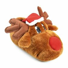 Mens/Womens Footwear Novelty Unisex Rudolph Slippers With Felt Antlers & Hat