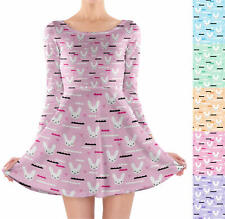 Sky Love Bunny Longsleeve Skater Dress XS-3XL All-Over-Print