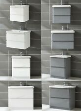 FoxHunter Bathroom Vanity Storage Unit with Sink High Gloss Cabinet 2 drawers