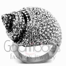 A729 SPARKLING CLEAR SIMULATED DIAMOND 316L STAINLESS STEEL HIGH POLISHED RING